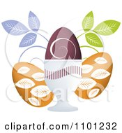 Clipart Three Floral Easter Eggs And Leaves On White Royalty Free Vector Illustration