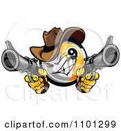 Clipart Billiards Nine Ball Cowboy Shooting Guns Royalty Free Vector Illustration