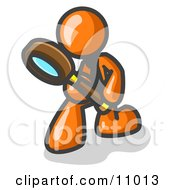 Orange Man Bending Over To Inspect Something Through A Magnifying Glass Clipart Illustration