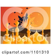 Clipart Golden Mosque With An Orange Sky And Floral Design Royalty Free Vector Illustration