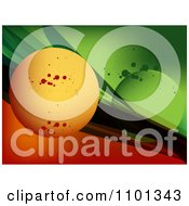 Clipart Background Of Orange And Green With Spheres Waves And Grunge Royalty Free Vector Illustration