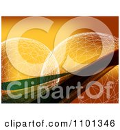 Clipart Grid Spheres With Waves On Orange Royalty Free Vector Illustration