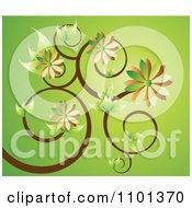 Clipart Green And Brown Floral Vine Over Green Royalty Free Vector Illustration