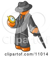 Orange Businessman Checking His Pocket Watch Clipart Illustration