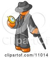 Orange Businessman Checking His Pocket Watch