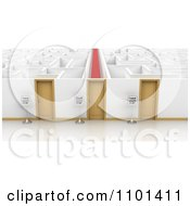Clipart 3d Signs By Three Doors That Open To Different Ways How Companies Treat Their Customers In A Maze Royalty Free CGI Illustration