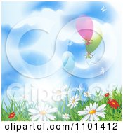Clipart Background Of Wild Spring Daisies In Grass Under A Sunny Sky With Balloons Royalty Free Vector Illustration