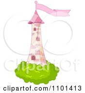 Pink Fairy Tale Tower With Bushes And A Flag