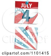 Grungy Fourth Of July Calendar Page And Burst Pinned