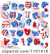 Clipart Patriotic American Capital Letters With Stars Over Rays Royalty Free Vector Illustration