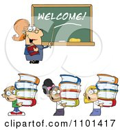 Clipart Friendly Female Teacher Pointing To Welcome On A Chalk Board And Students Carrying Books Royalty Free Vector Illustration by Hit Toon