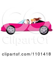 Happy Woman Driving A Pink Convertible With Her Friends In The Back Seat