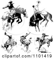 Clipart Retro Black And White Rodeo Cowboys On Bucking Horses Royalty Free Vector Illustration