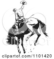 Poster, Art Print Of Retro Black And White Rodeo Cowboy On A Bucking Horse 1