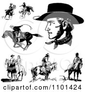 Clipart Retro Black And White Cowboys Horses And A Couple Royalty Free Vector Illustration