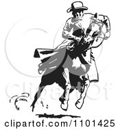 Clipart Retro Black And White Cowboy Looking Back On A Running Horse Royalty Free Vector Illustration by BestVector