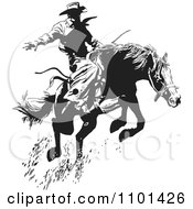 Clipart Retro Black And White Wrangler Cowboy On A Leaping Horse Royalty Free Vector Illustration by BestVector