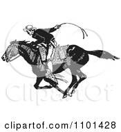 Clipart Retro Black And White Cowboy On A Fast Horse Royalty Free Vector Illustration by BestVector