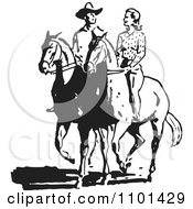 Clipart Retro Black And White Cowboy And Woman On Horses Royalty Free Vector Illustration