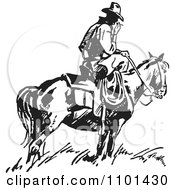 Clipart Retro Black And White Wrangler Cowboy Smoking On A Horse Royalty Free Vector Illustration