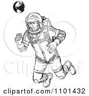 Clipart Retro Black And White Astronaut Floating With Earth In The Background Royalty Free Vector Illustration by BestVector