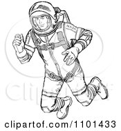 Clipart Retro Black And White Astronaut Floating In Outer Space Royalty Free Vector Illustration