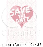 Clipart Pink Floral Save The Date Wedding Background With A Heart Royalty Free Vector Illustration by BestVector