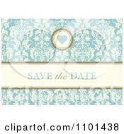 Clipart Blue Floral Save The Date Wedding Background With A Heart Royalty Free Vector Illustration by BestVector