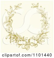 Clipart Bow Tied On A Yellow Ornate Laurel Wreath With Copyspace On Beige Royalty Free Vector Illustration