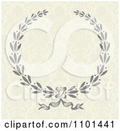 Clipart Gray Laurel Wreath On A Floral Pattern Royalty Free Vector Illustration by BestVector