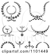 Clipart Black And White Wreath Design Elements Royalty Free Vector Illustration
