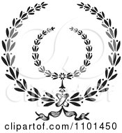 Clipart Black And White Wreath Design Element 1 Royalty Free Vector Illustration