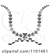Clipart Black And White Wreath Design Element 2 Royalty Free Vector Illustration
