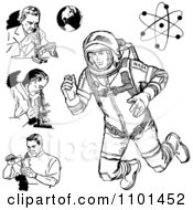 Clipart Retro Black And White Scientists Astronaut Earth And Atom Royalty Free Vector Illustration