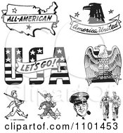 Clipart Retro Black And White American Icons And Military Soliders Royalty Free Vector Illustration by BestVector