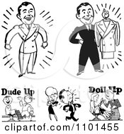 Clipart Retro Black And White Handsome Men And Barbers Royalty Free Vector Illustration