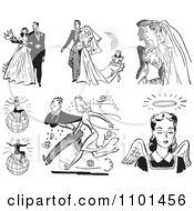 Clipart Retro Black And White Wedding Couples Successful People And Angel Royalty Free Vector Illustration by BestVector