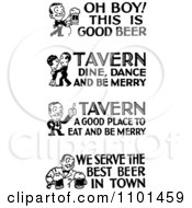 Clipart Retro Black And White People With Tavern And Bar Text Royalty Free Vector Illustration