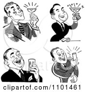 Clipart Retro Black And White Men Laughing And Holding Beers Or Cocktails Royalty Free Vector Illustration by BestVector