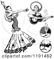 Clipart Retro Black And White Beautiful Mexican Flaminco Dancer Royalty Free Vector Illustration
