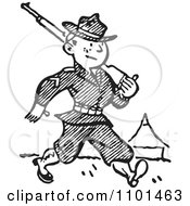 Clipart Retro Black And White Military Soldier Marching With A Firearm Royalty Free Vector Illustration