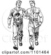 Clipart Retro Black And White Soldiers Walking Arm In Arm Royalty Free Vector Illustration by BestVector