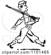 Clipart Retro Black And White Military Soldier Marching With A Rifle Royalty Free Vector Illustration