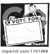 Clipart Retro Black And White Politician Holding A Vote For Sign Royalty Free Vector Illustration by BestVector