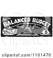 Clipart Retro Black And White Vote For A Balanced Budget With Scales Royalty Free Vector Illustration