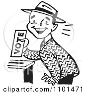 Clipart Retro Black And White Happy Man Casting His Vote Royalty Free Vector Illustration
