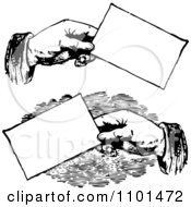 Clipart Retro Black And White Hands Holding Business Cards Royalty Free Vector Illustration
