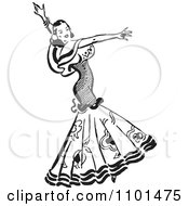 Clipart Retro Black And White Beautiful Mexican Flaminco Dancer Royalty Free Vector Illustration by BestVector