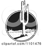 Clipart Retro Black And White Mexican Desert Landscape And Cactus Royalty Free Vector Illustration
