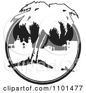 Clipart Retro Black And White Mexican Belfry Church And Buildings With Trees Royalty Free Vector Illustration